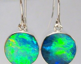 8.5ct Sterling Silver Natural Inlay Australian Opal Earrings Gem Jewel Gift
