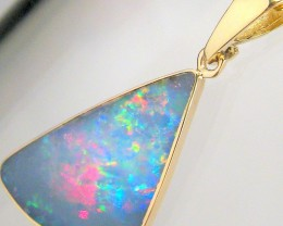 4.8ct 14k Gold Authentic Genuine Australian Opal Pendant Inlay Jewelry Gift