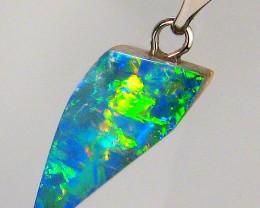 Genuine Australian Opal Pendant 14k White Gold Bright Natural Gem Gift 3.6c