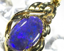 Deep Blue Fire Solid Black Opal 18K Gold Pendant SCO88