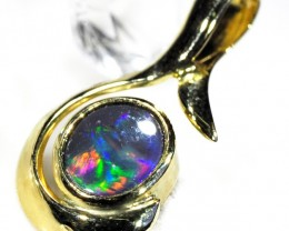 Fire Flash Solid Black Opal 18K Gold Pendant SCO87