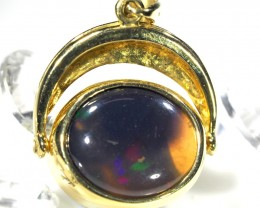 BEAUTIFUL DEEP MAUVE SOLID BLACK OPAL 18K GOLD PENDANT SCO89