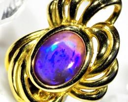 Unique Design 18K Gold Pendant Solid Black Opal SCO78
