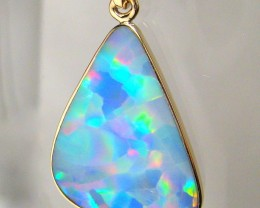 5.1ct 14k Gold Authentic Genuine Australian Opal Pendant Inlay Jewelry Gift