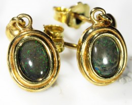 ANDAMOOKA BLACK  OPAL 18K  GOLD EARRINGS  CK 42