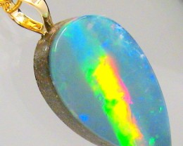 Australian Opal Pendant 14k Gold Bright Rainbow Natural Gemstone Gift 4.3ct