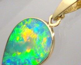 3.6ct 14k Gold Authentic Genuine Australian Opal Pendant Inlay Jewelry Gift