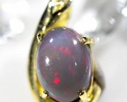 BEAUTIFUL RED FLASH BLACK OPAL PENDANT WITH DIAMENTIES SCO9