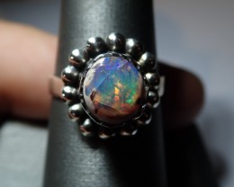 8.25sz Mexican Matrix Opal Ring  .925 Sterling