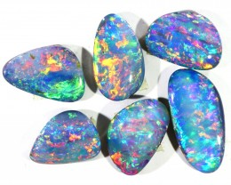 8.31CTS SET 6 OPAL DOUBLET SKIN SHELL PARCELS GREAT COLOUR PLAY--S553