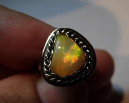 6.5sz Ring Solid Opal .925 Sterling