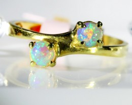 TWIN CRYSTAL OPAL IN 18 K OGOLD RING  SCO 387
