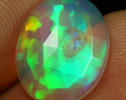 Faceted Flat 3.10cts Broad Green Neon Fire Ethiopian Opal