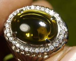 64.60 CT UNTREATED GREENISH CLEAR INDONESIAN FIRE OPAL WITH RING
