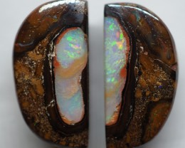 19.65CT VIEW PAIR QUEENSLAND BOULDER OPAL OI597