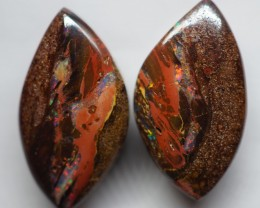11.40CT VIEW PAIR QUEENSLAND BOULDER OPAL OI598