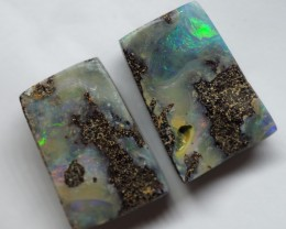 27.10CT VIEW PAIR QUEENSLAND BOULDER OPAL OI601