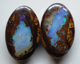 32.50CT VIEW PAIR QUEENSLAND BOULDER OPAL OI604