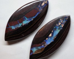 59.10CT VIEW PAIR QUEENSLAND BOULDER OPAL OI605