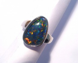 Genuine Australian Gem Opal and solid Sterling Silver Ring Siz