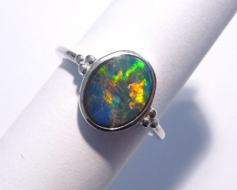 Bright Australian Gem Opal and Sterling Silver Ring Size N or 6.5 (3301)