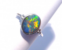 Bright Australian Gem Opal and Sterling Silver Ring (z3301)
