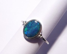 Genuine Australian Gem Opal and Sterling Silver Ring Size O or 7 (3304)