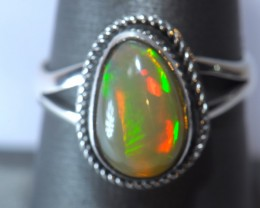 sz7 SOLID WELO OPAL HIGH QUALITY .925 STERLING FABULOUS RING