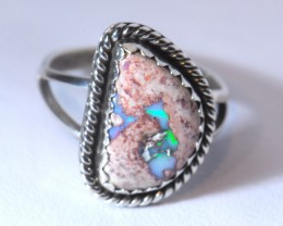 7sz SOLID MATRIX  OPAL HIGH QUALITY .925 STERLING FABULOUS RING