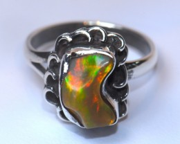 6SZ SOLID WELO OPAL HIGH QUALITY .925 STERLING FABULOUS RING