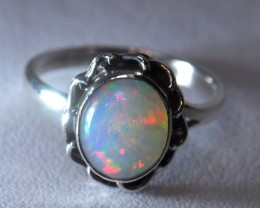 Sz6 SOLID CRYSTAL OPAL HIGH QUALITY .925 STERLING FABULOUS RING