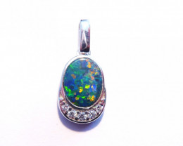 Australian Gem Opal, Cubic Zirconia and Sterling Silver Pendant Charm