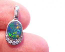Australian Gem Opal, Cubic Zirconia and Sterling Silver Pendant Charm