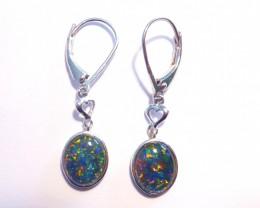 Bright Australian Triplet Opal and Sterling Silver Earrings (3