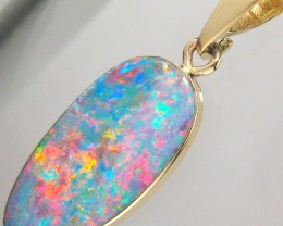 5ct 14kt Gold Natural Australian Opal Pendant Genuine Doublet Jewelry Gift