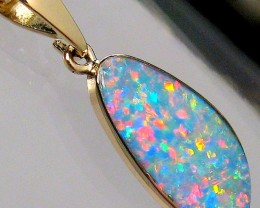 4.7ct 14kt Gold Natural Australian Opal Pendant Genuine Doublet Jewelry Gif