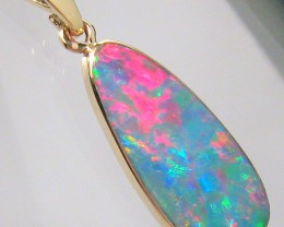 4.3ct 14kt Gold Natural Australian Opal Pendant Precious Doublet Gift Jewel
