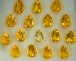 14.60 Cts Natural Mexican Fire Opal Pear Cut 16 Pcs