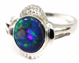 QUALITY BLACK SOLID OPAL WITH 18K GOLD RING 15.65  CTS GC