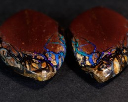 Matched Pair Koroit Boulder Opal, Natural Australian Solid Opal, Real Opal