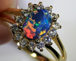 1.2ct 8x6mm Doublet Opal Yellow Gold Plated CZ Ring Size 7 [GPC-015]