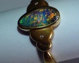 20.90 ct 18k Solid Gold Gem Boulder Opal Diamond Ring *