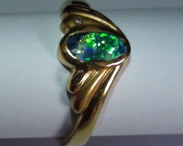16.85 ct 18k Solid Gold Gem Boulder Opal Diamond Ring *