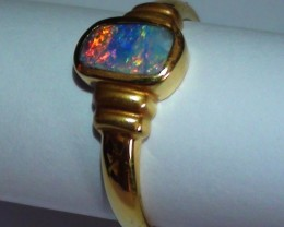 18.30 ct 18k Solid Gold Gem Boulder Opal Ring