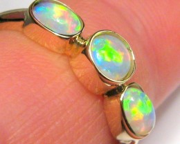 12ct 14k Gold US Size 7 Genuine Australian Natural Solid Opal Ring Gem Gift