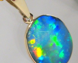 5.3ct 14k Gold Authentic Genuine Australian Opal Pendant Inlay Jewelry Gift