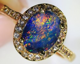 1.3ct 8x6mm Doublet Opal Yellow Gold Plated CZ Ring Size 6 [GPC-016]