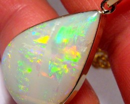 10.9ct 14k Gold Large Gem Natural Australian Solid Opal Pendant Jewelry Gif