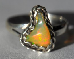 Sz6 SOLID CRYSTAL OPAL HIGH QUALITY .925 STERLING FABULOUS RI8