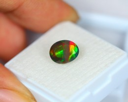 1.92Ct Natural Ethiopian Welo Smoked Black Faceted Opal Lot K201